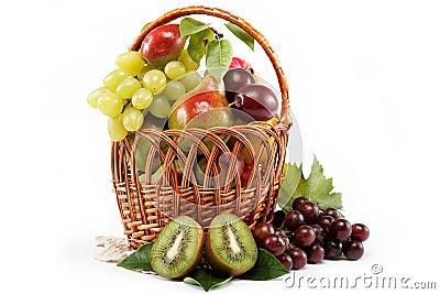 Fresh fruits isolated on a white background.