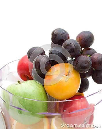 Fresh fruits with juicing machine