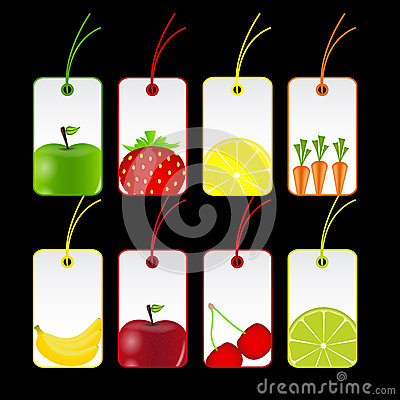 Fresh fruits labels vector illustration