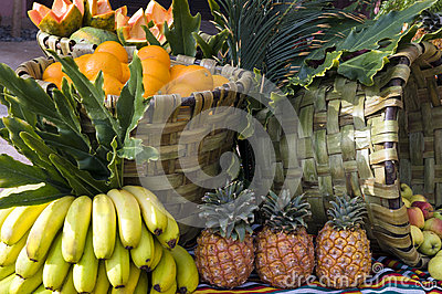Fresh fruits from the market in baskets