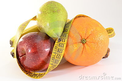 Fruits and meter, diet concept