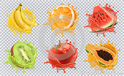 Fresh fruits and splashes, 3d vector icon set Vector Illustration