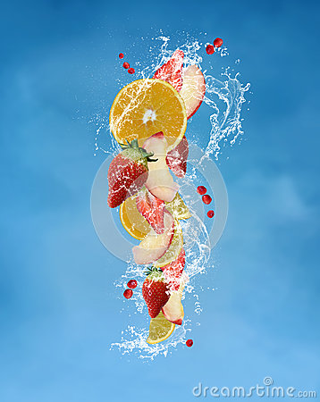 Fresh fruits with water splashes