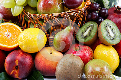 Fresh fruits  on a white background.