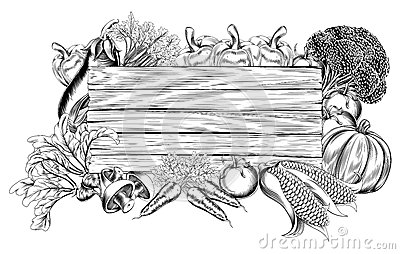 vintage retro woodcut print or etching style vegetable wooden sign ...