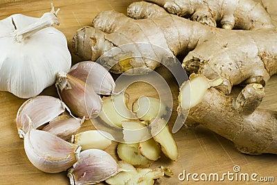 Fresh garlic and ginger