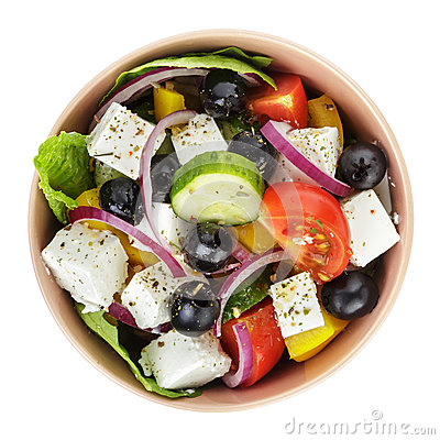 Free Fresh Greek Salad In Clay Bowl Royalty Free Stock Photography - 32953847