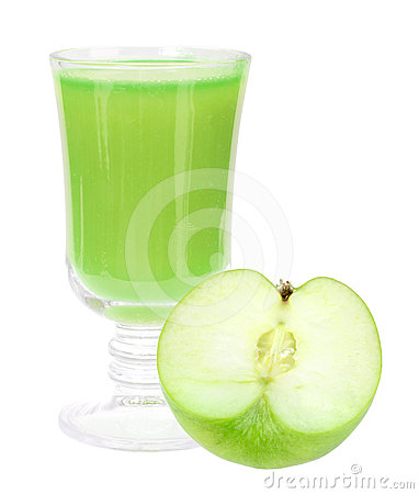 Fresh green-apple juice and apple