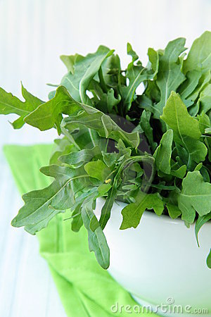 Fresh green Arugula salad