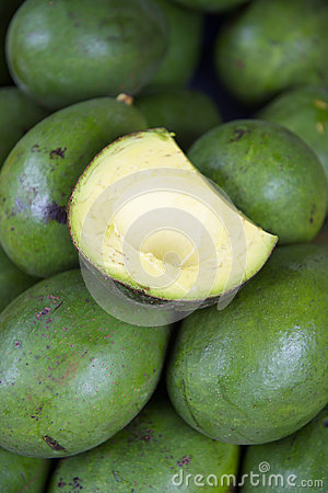Fresh green avocados on display at farmers market