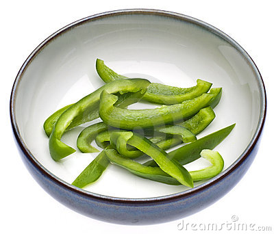 Fresh Green Bell Pepper Slices
