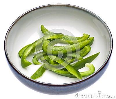 Fresh Green Bell Pepper Slices