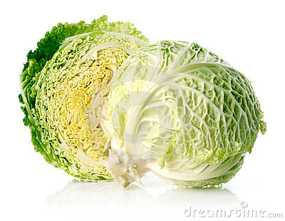 Fresh green cabbage fruit with cut isolated