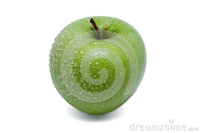 Fresh green juicy wet apple
