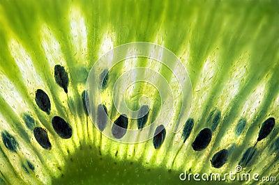 Fresh Green Kiwi Fruit Macro Closeup w/ Seeds