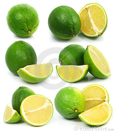 Fresh green lime fruits isolated healthy food