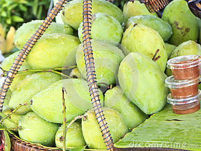 Fresh green mango in market