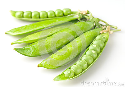 Fresh green peas with drops