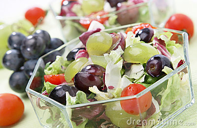 Fresh green salad with grapes