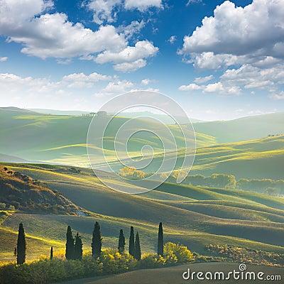 Free Fresh Green Tuscany Landscape Royalty Free Stock Photo - 88104105