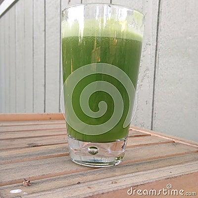 Fresh green veggie juice