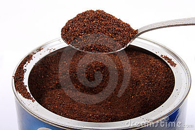 Fresh ground coffee in can