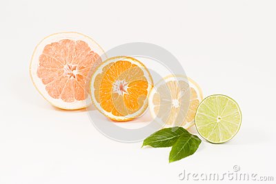 Fresh half of grapefruit, lemon, orange and lime