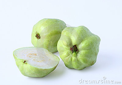 Fresh half of Guava fruit over white background