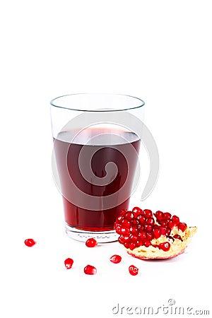 Fresh half of pomegranate juice