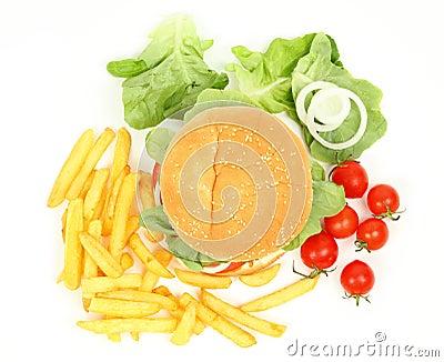 Fresh hamburger with fries