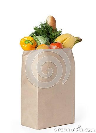 Fresh healthy food in a paper bag
