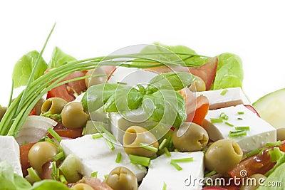 Fresh healthy vegetables salad with feta
