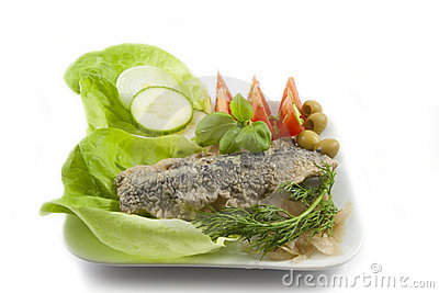 Fresh healthy vegetables  salad with fish