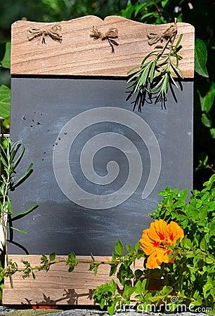 Fresh herb garden table