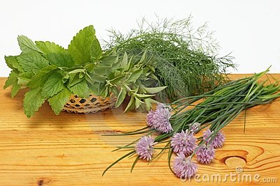 Fresh herbs in a basket