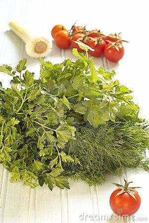 Fresh herbs and tomatoes on blue background