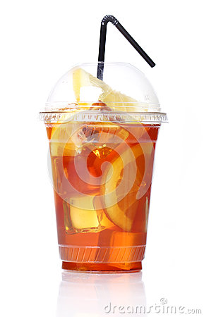 Free Fresh Ice Tea In Plastic Glass Royalty Free Stock Image - 24670936