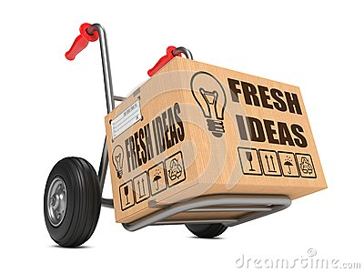 Fresh Ideas - Cardboard Box on Hand Truck.