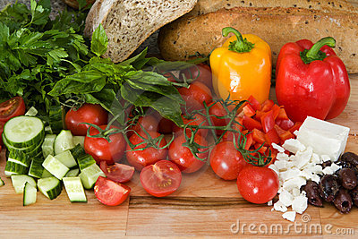 Fresh ingredients for greek salad