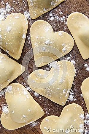 Free Fresh Italian Ravioli In Shape Of Heart. Royalty Free Stock Images - 68213149