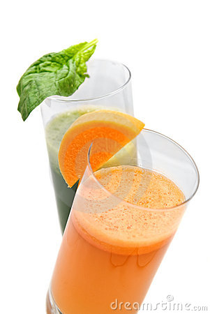 Fresh juices from carrot and parsley