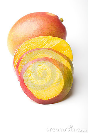 Fresh juicy ripe mango tropical fruit sliced