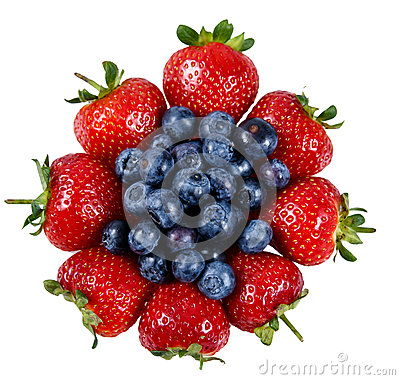 Free Fresh Juicy Strawberry With Blueberry. Isolated On White Background Royalty Free Stock Image - 65831446