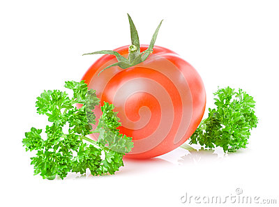 Fresh Juicy Tomato and parsley isolated on white