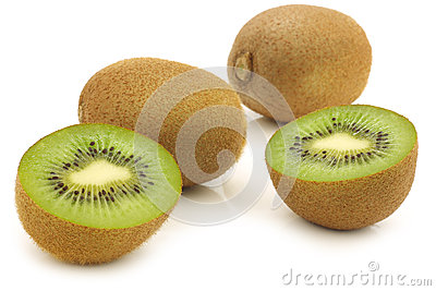 Fresh kiwi fruit and a cut one