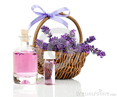 Fresh lavender blossoms with Natural lavender oil Stock Photo