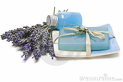 Fresh lavender and spa items.