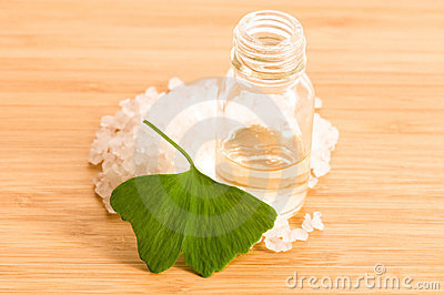 Fresh leaves ginko biloba essential oil and salt