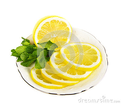Fresh lemon fruit slices