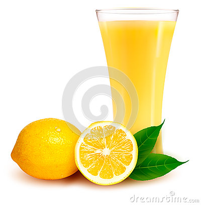 Fresh lemon and glass with juice
